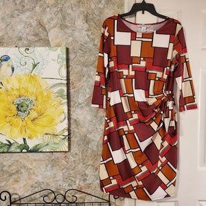 ⏰Color Block Faux Wrap Midi Dress